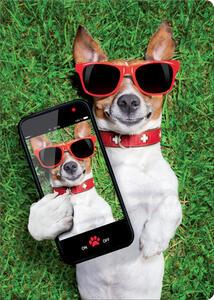 Quaderno maxi A4 Fine Paper a quadretti. Dog taking a selfie