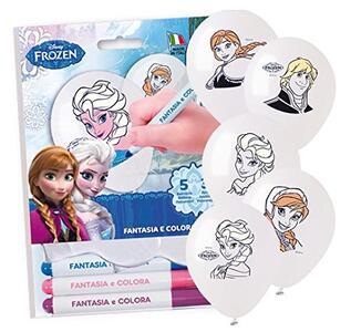 Frozen. Kit Palloncini Fantasia E Colora. 5 Palloncini con Pennarelli
