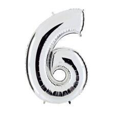Palloncini Mylar Silver Numero 6