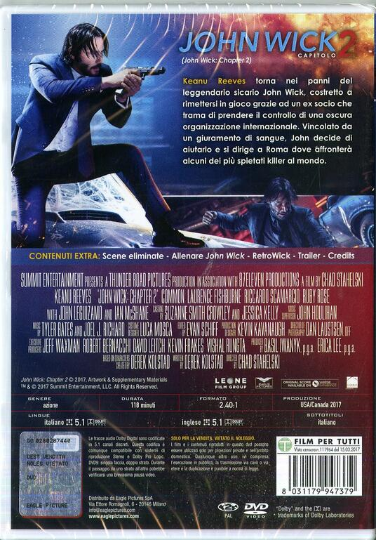 John Wick. Capitolo 2 (DVD) di David Leitch,Chad Stahelski - DVD - 2