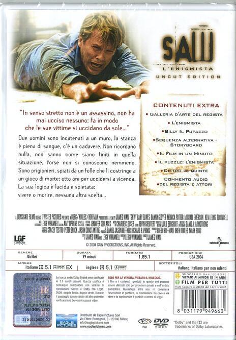 Saw. L'enigmista. Uncut. Special Edition. Con card tarocco da collezione (DVD) di James Wan,Darren Lynn Bousman - DVD - 2