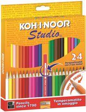 Cartoleria Pastelli Studio Basic Koh-I-Noor. Confezione 24 matite colorate. Con temperamatite Koh-I-Noor