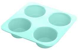 Idee regalo Stampo Muffins in silicone colorato rosa e verde - 4 impronte La Dolcetteria
