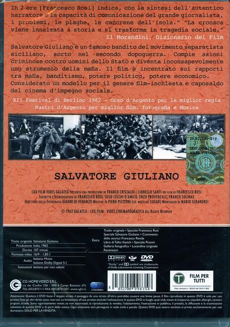 Salvatore Giuliano di Francesco Rosi - DVD - 2