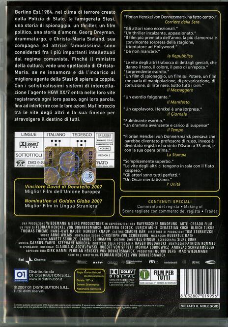 Le vite degli altri di Florian Henckel von Donnersmarck - DVD - 2