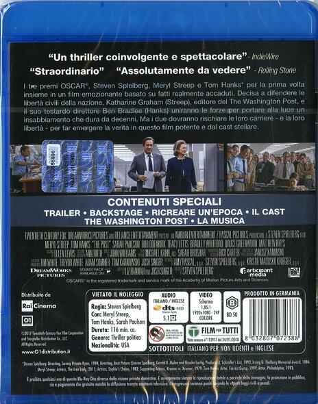 The Post (Blu-ray) di Steven Spielberg - Blu-ray - 2