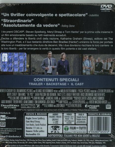 The Post. Con Steelbook (DVD) di Steven Spielberg - DVD - 2