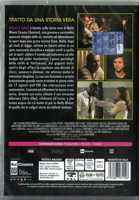 Molly's Game (DVD) di Aaron Sorkin - DVD - 3