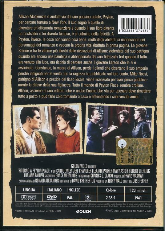 Ritorno a Peyton Place di José Ferrer - DVD - 2