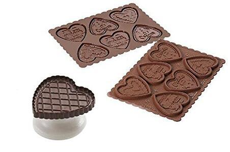 Stampo in Silicone Cookie Hearts Marrone + Manopola in Gift Box + Libro Ricettario - 5