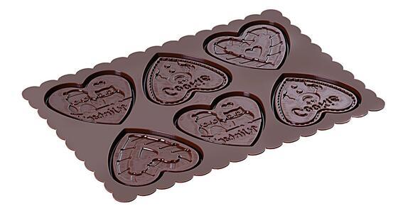 Stampo in Silicone Cookie Hearts Marrone + Manopola in Gift Box + Libro Ricettario - 12