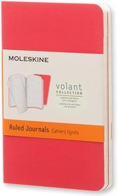 Taccuino Volant Moleskine extra small a righe copertina 2 tinte di rosso. Set da 2