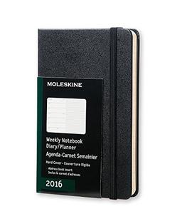 Cartoleria Agenda settimanale 2016, 12 mesi, Moleskine con spazio per note pocket copertina rigida Moleskine 0