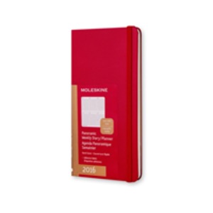 Cartoleria Moleskine 2016 12 mesi Planner Weekly Notebook Panoramic Slim Size Hard Scarlet Red Moleskine 0