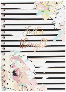 Quaderno ad anelli con pagine rigate. Pastel Geometries. Dettagli in rose gold foil. 120 pagine, 80 mm nero, rosa, bianco - 3