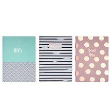 Cartoleria Set di 3 quadernoni, 2 a righe e uno bianco Pastel Geometries multicolor Tricoastal