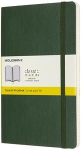 Cartoleria Taccuino Moleskine large a quadretti copertina morbida verde. Myrtle Green Moleskine