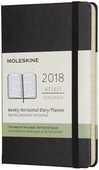 Cartoleria Agenda settimanale orizzontale 2018, 12 mesi, Moleskine pocket copertina rigida nera Moleskine