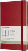 Cartoleria Weekly Notebook. Agenda-taccuino settimanale 2018, 12 mesi, Moleskine large copertina rigida rossa Moleskine