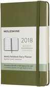 Cartoleria Weekly Notebook. Agenda-taccuino settimanale 2018, 12 mesi, Moleskine pocket copertina rigida verde Moleskine