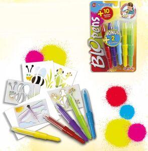 Giocattolo Blo Pens. 5 Penne + 10 Stencil Auguri Preziosi