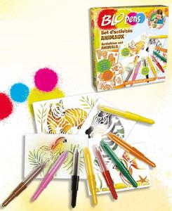 Giocattolo Blo Pens. Activity Kit. 10 Penne + 6 Stencil Animali Auguri Preziosi 0