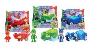 Giocattolo Pj Masks Super Pigiamini Personaggio 8 Cm + Veicolo Import