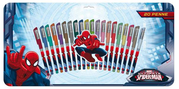 Giocattolo Penne Gel Set 20 Pz Spiderman Auguri Preziosi 0