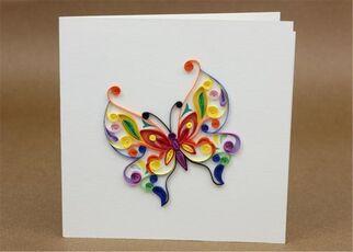 Cartoleria Biglietto Auguri Quilling Fatto A Mano Farfalla Colorata Origamo