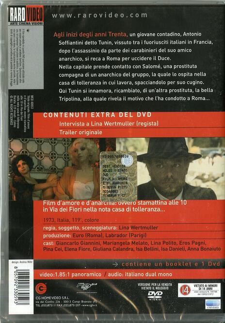 Film d'amore e d'anarchia: ovvero stamattina alle 10 in via dei Fiori nella... di Lina Wertmüller - DVD - 2