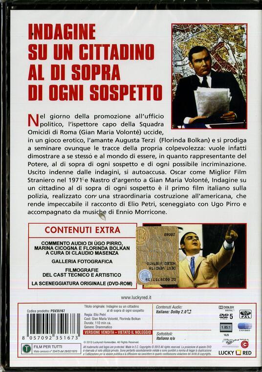 Indagine su un cittadino al di sopra di ogni sospetto di Elio Petri - DVD - 2