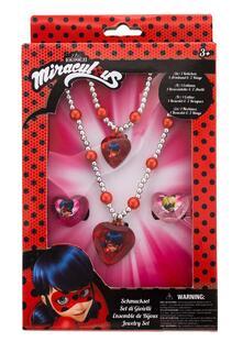 Miraculous Set Accessori Braccialetto Di Perle, Collana Di Perle E 2 Anelli In Confezione Regalo 12X4X18 Cm