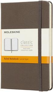 Taccuino Moleskine pocket a righe copertina rigida. Marrone