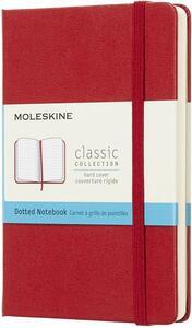 Cartoleria Taccuino Moleskine pocket puntinato copertina rigida rosso. Scarlet Red Moleskine