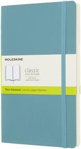 Taccuino Moleskine large a pagine bianche copertina morbida azzurro. Reef Blue