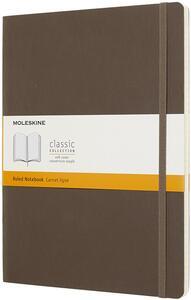 Cartoleria Taccuino Moleskine XL a righe copertina morbida marrone. Earth Brown Moleskine