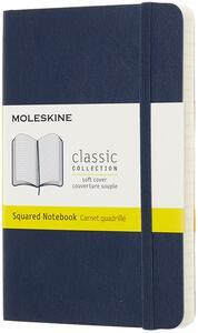 Cartoleria Taccuino Moleskine pocket a quadretti copertina morbida blu. Sapphire Blue Moleskine