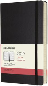 Agenda giornaliera 2019, 12 mesi, Moleskine large copertina rigida. Nero