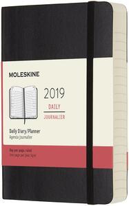 Agenda giornaliera 2019, 12 mesi, Moleskine pocket copertina morbida. Nero