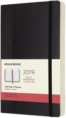 Cartoleria Agenda giornaliera 2019, 12 mesi, Moleskine large copertina morbida. Nero Moleskine