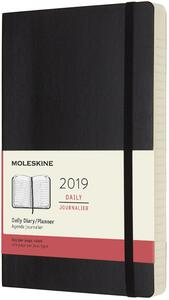 Agenda giornaliera 2019, 12 mesi, Moleskine large copertina morbida. Nero