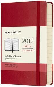 Agenda giornaliera 2019, 12 mesi, Moleskine pocket copertina rigida. Rosso