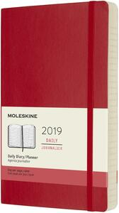 Agenda giornaliera 2019, 12 mesi, Moleskine large copertina morbida. Rosso