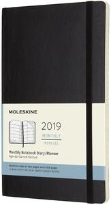Agenda mensile 2019, 12 mesi, Moleskine large copertina morbida. Nero