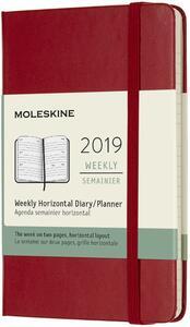 Agenda settimanale orizzontale 2019, 12 mesi, Moleskine pocket copertina rigida. Rosso