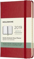 Cartoleria Weekly Notebook. Agenda-taccuino settimanale 2019, 12 mesi, Moleskine pocket copertina rigida. Rosso Moleskine