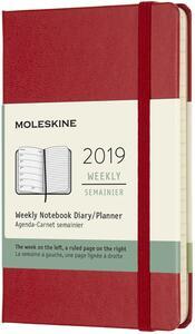 Weekly Notebook. Agenda-taccuino settimanale 2019, 12 mesi, Moleskine pocket copertina rigida. Rosso