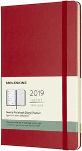 Weekly Notebook. Agenda-taccuino settimanale 2019, 12 mesi, Moleskine large copertina rigida. Rosso