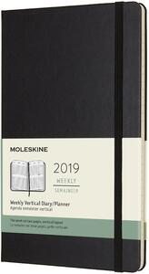 Agenda settimanale verticale 2019, 12 mesi, Moleskine large copertina rigida. Nero