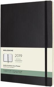 Weekly Notebook. Agenda-taccuino settimanale 2019, 12 mesi, Moleskine extra large copertina morbida. Nero